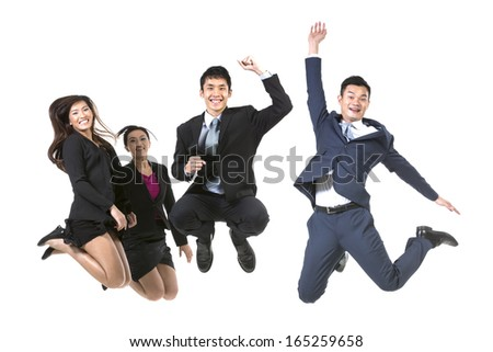 Group Of Chinese Business People jumping in the air. isolated on a White Background - stock photo