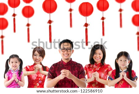 Group of Chinese people greeting, Chinese new year concept, isolated over white background. - stock photo