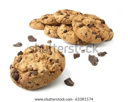 Group of chocolate chip cookies - stock photo