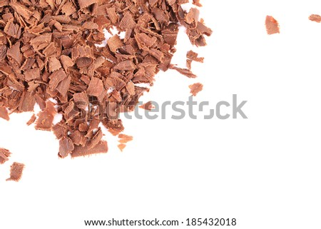 Group of chocolate shavings. Isolated on a white background. - stock photo