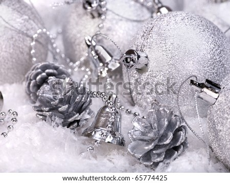 Group of christmas ball in snow. - stock photo