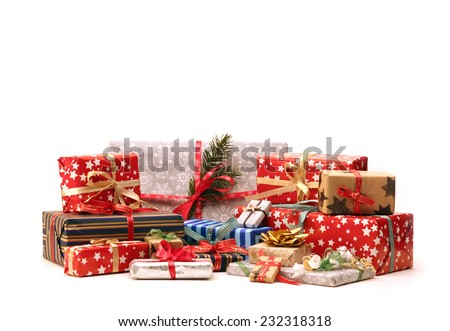 Group of christmas gifts isolated on white background (also available as footage) - stock photo