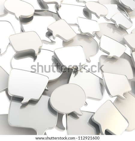 Group of chrome metal glossy speech text bubbles randomly placed as abstract copyspace business communication background - stock photo