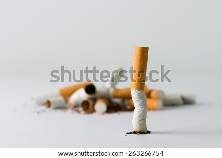 Group of cigarette indicates quitting smoking conceptual - stock photo