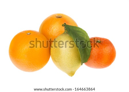 Group of citrus fruit mandarin orange and lemon. On a white background. - stock photo