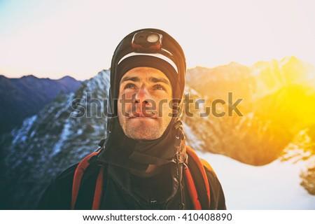 Group of  climbers reaching the summit, Nepal Himalayas. Vintage photo - stock photo