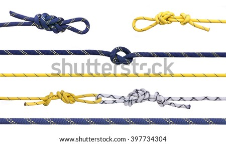 Group of climbing ropes and knots and loops.  Set of mountaineering ropes isolated on white background - stock photo