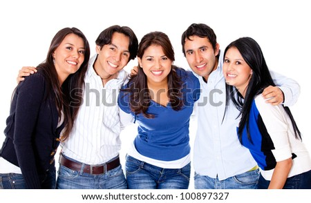 Group of close friends together - isolated over a white background
