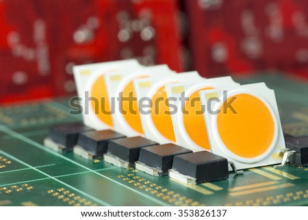 Group of COB LEDs arrays on PCB board