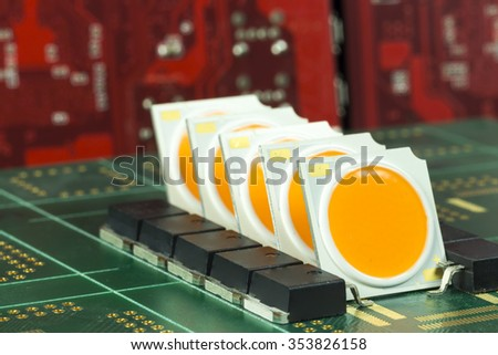 Group of COB LEDs arrays on PCB board - stock photo
