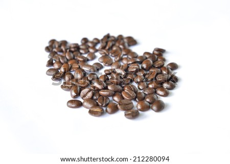 group of coffee bean on a white screen