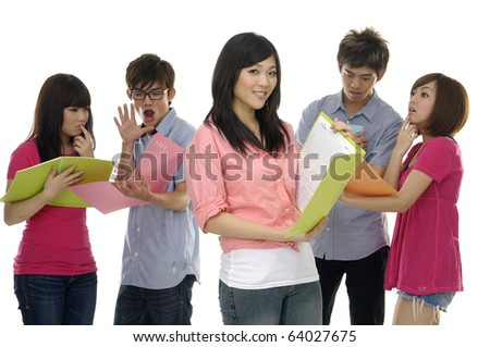 Group of college or university students - stock photo