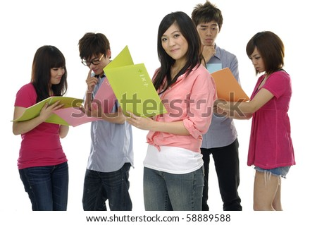 Group of college or university students focus on young smile woman - stock photo