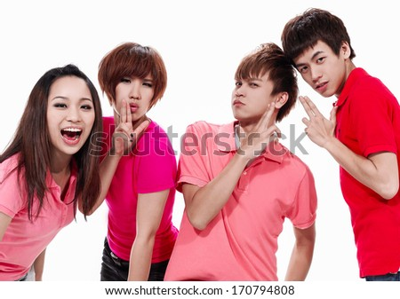 group of college or university students having fun - stock photo