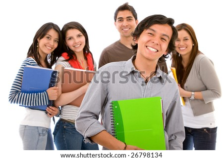Group of college or university students isolated on white - stock photo