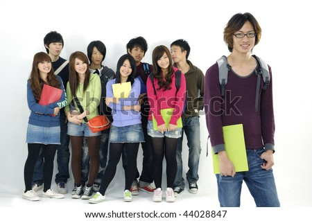 Group of college or university students with notebooks and bags