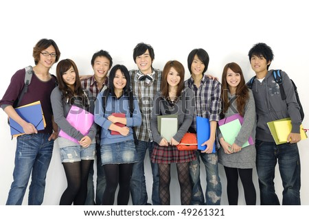 Group of college or university students with notebooks and bags - stock photo