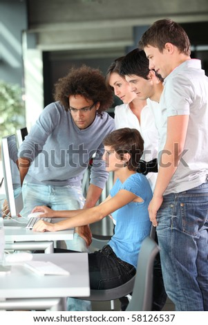 Group of college students in business training - stock photo