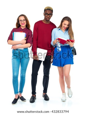 Group of college students on a white background - stock photo