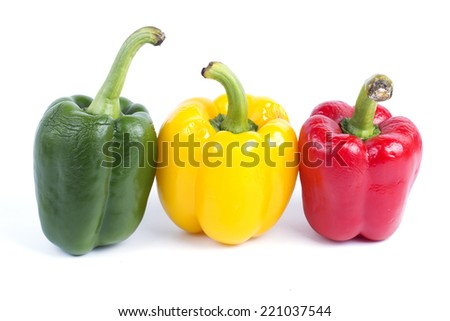 Group of color bell peppers isolated on white background.  - stock photo