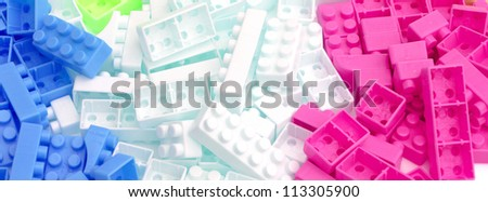group of color brick toy on white background. - stock photo