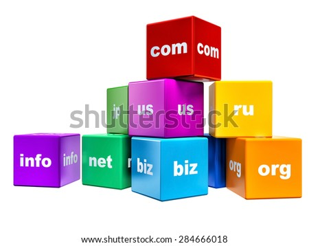 group of color cubes with domain names isolated on white background - stock photo
