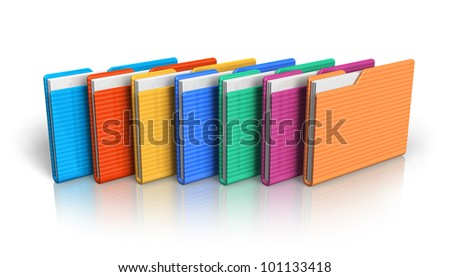Group of color folders isolated on white background with reflection effect - stock photo