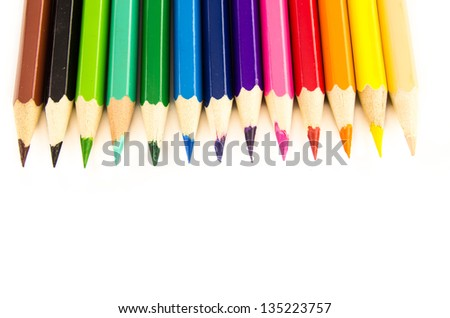 group of color pencil isolated on white background