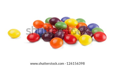Group of colored candys on a white background - stock photo