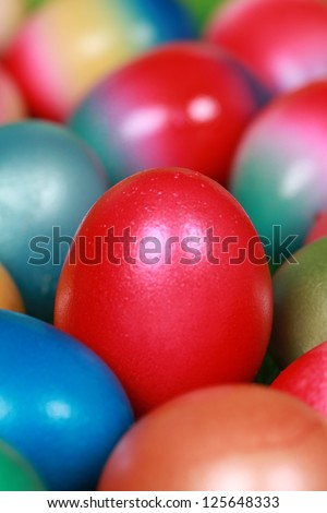 Group of colored Easter eggs forming a background