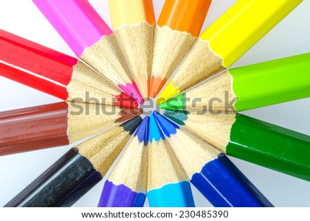 Group of colored pencils - stock photo
