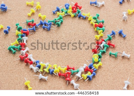 Group of Colored Pins arranged as Heart Shape with Copy Space in the Middle for Adding Texts or Photos, Valentine's Day of Bussiness Men - stock photo
