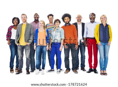 Group of Colorful Diverse People - stock photo