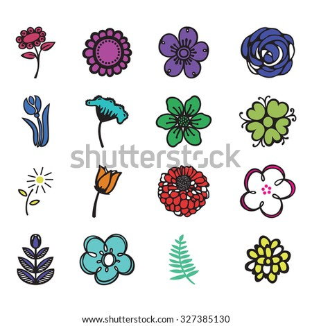 group of colorful flowers on a neutral background