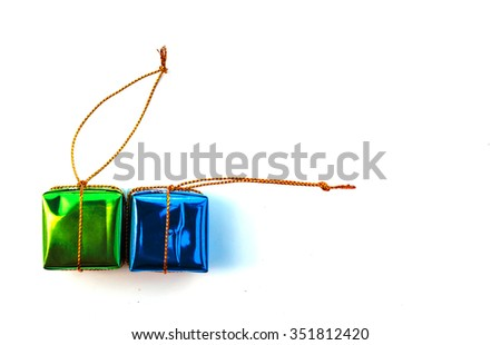 Group of colorful gift boxes with gold ribbons isolated on white background with clipping path - stock photo