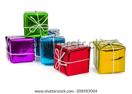 Group of colorful gift boxes with silver ribbons isolated on white background with clipping path - stock photo