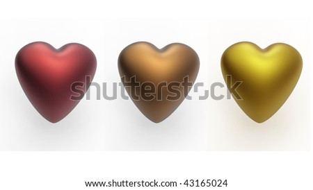 group of colorful hearts - stock photo
