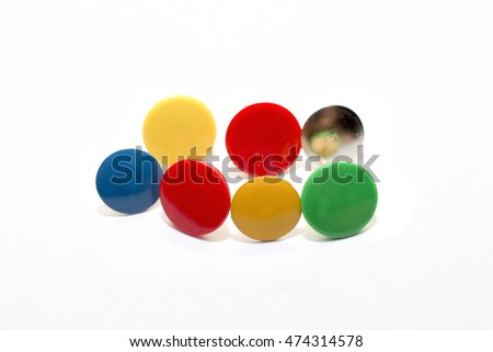 group of colorful of pin isolated on white