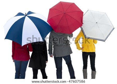 group of colorful people standing together under their umbrellas to stay out of the rain or snow