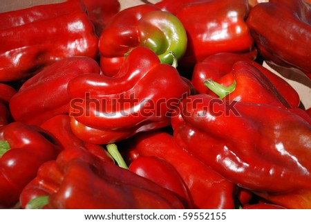 Group of colorful red peppers background - stock photo