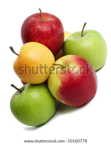 group of coloured green red yellow ripe fresh apples - stock photo