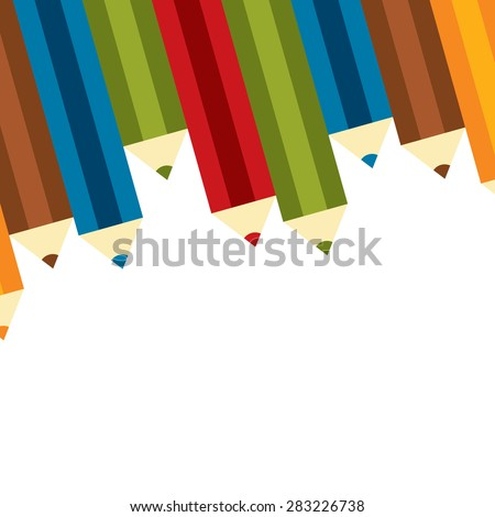 Group of Colourful Crayon, Colored Pencils, Colored Drawing Pencils in a Variety of Colors Isolated on White Background - stock photo