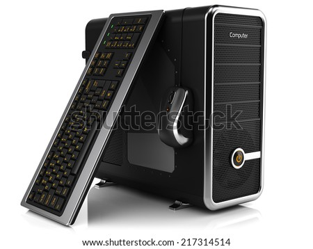 Group of computing tower box, keyboard and mouse isolated on white background - stock photo