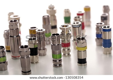 Group of connectors for coax cables - stock photo