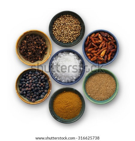 Group of cooking spices on white background