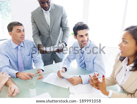 Group of Corporate People Having a Business Conversation - stock photo