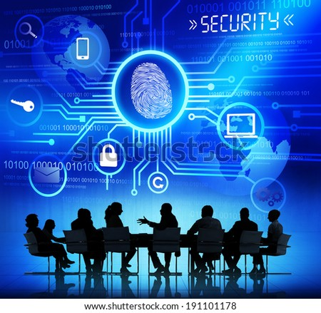 Group of Corporate People Having a Discussion About Global Network Security - stock photo