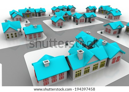 Group of cottages, houses. houses in the village - stock photo