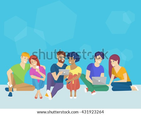 Group of creative people using smartphone, laptop and tablet pc sitting on the floor and talking each other. Flat concept illustration of creative thinking and working with modern electronic devices  - stock photo