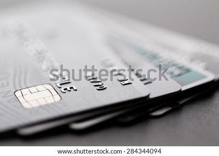Group of credit card - stock photo